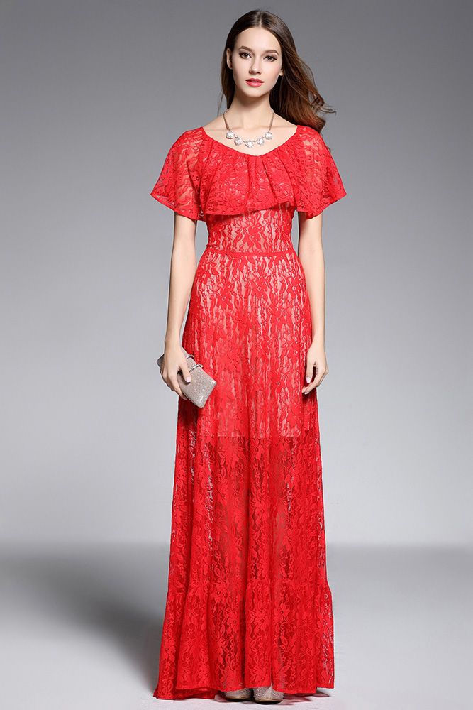 Long Red See Through Ruffle Neckline Formal Gown 63 Ck602