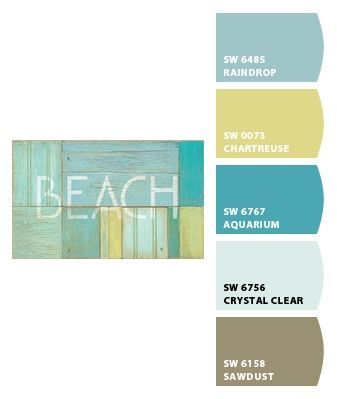 Beach Paint colors from Chip It! by Sherwin Williams LR=raindrop,  office=aquarium, bedroom=chartreuse, sawdust