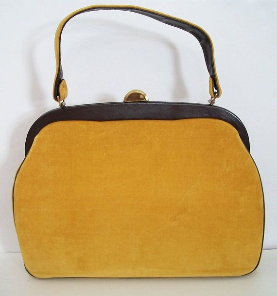 Rare Vintage 1950'S Ladies Purse Hand Bag,Made of Mustard yellow Velvet And Brown Trim.