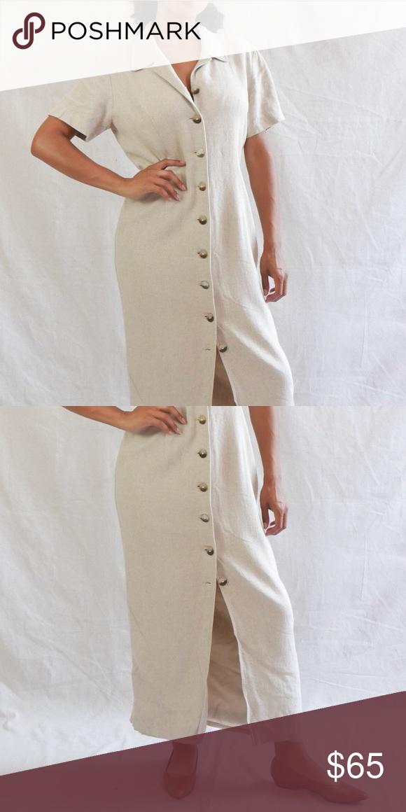 d5f72888ed Vintage 90s linen dress Vintage 90 s beige linen button down dress with  short sleeves. DETAILS