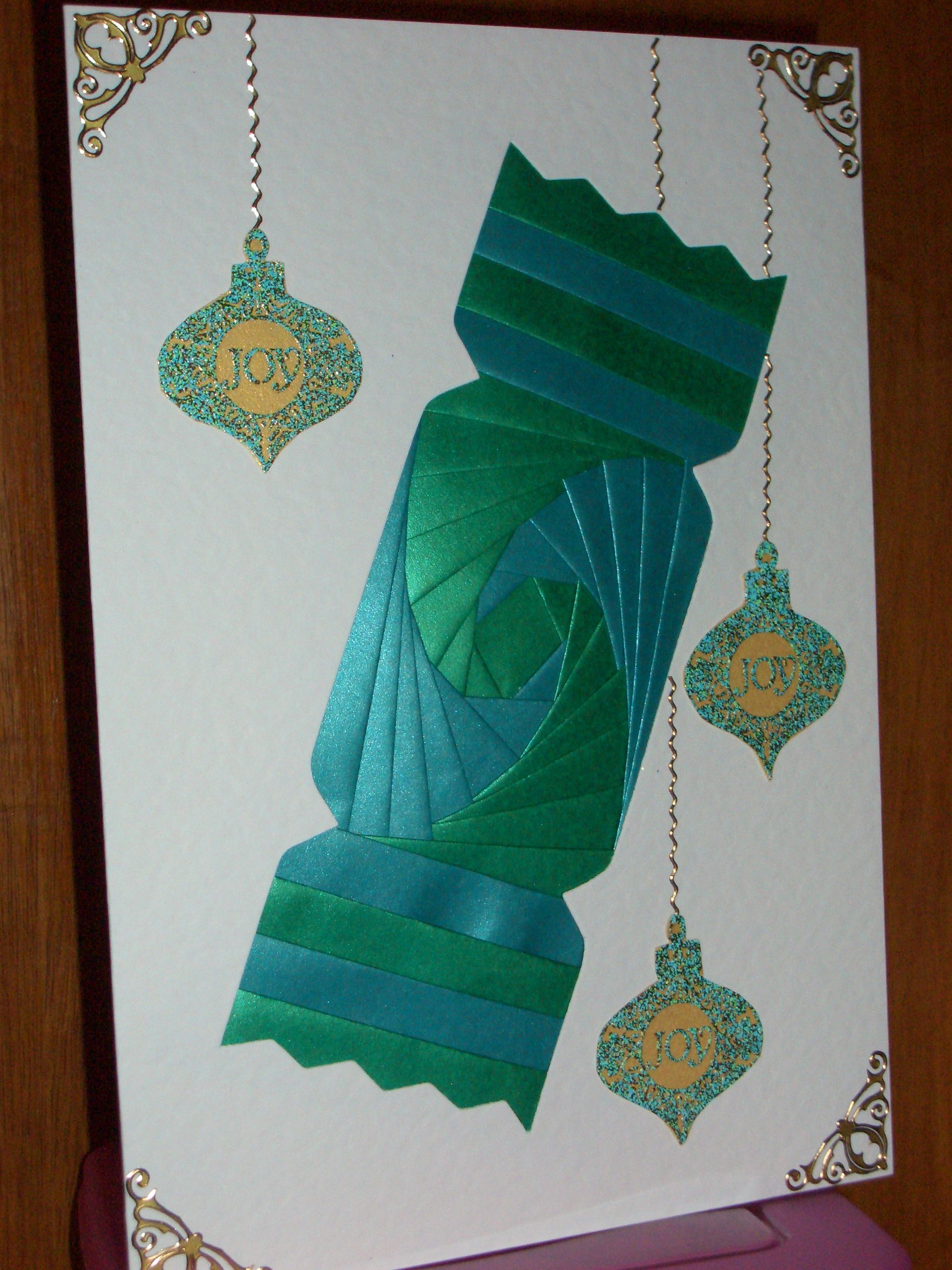 Christmas Cracker Card Card Blank Paper From Dee Craft Embellishments From My Own Stash Iris Folding Pattern Iris Folding Templates Iris Folding
