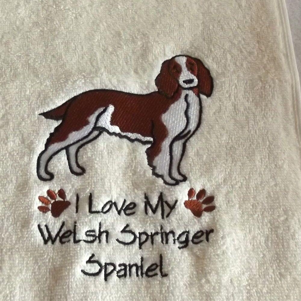 Welsh Springer Spaniel Dog Embroidered Towels in Home