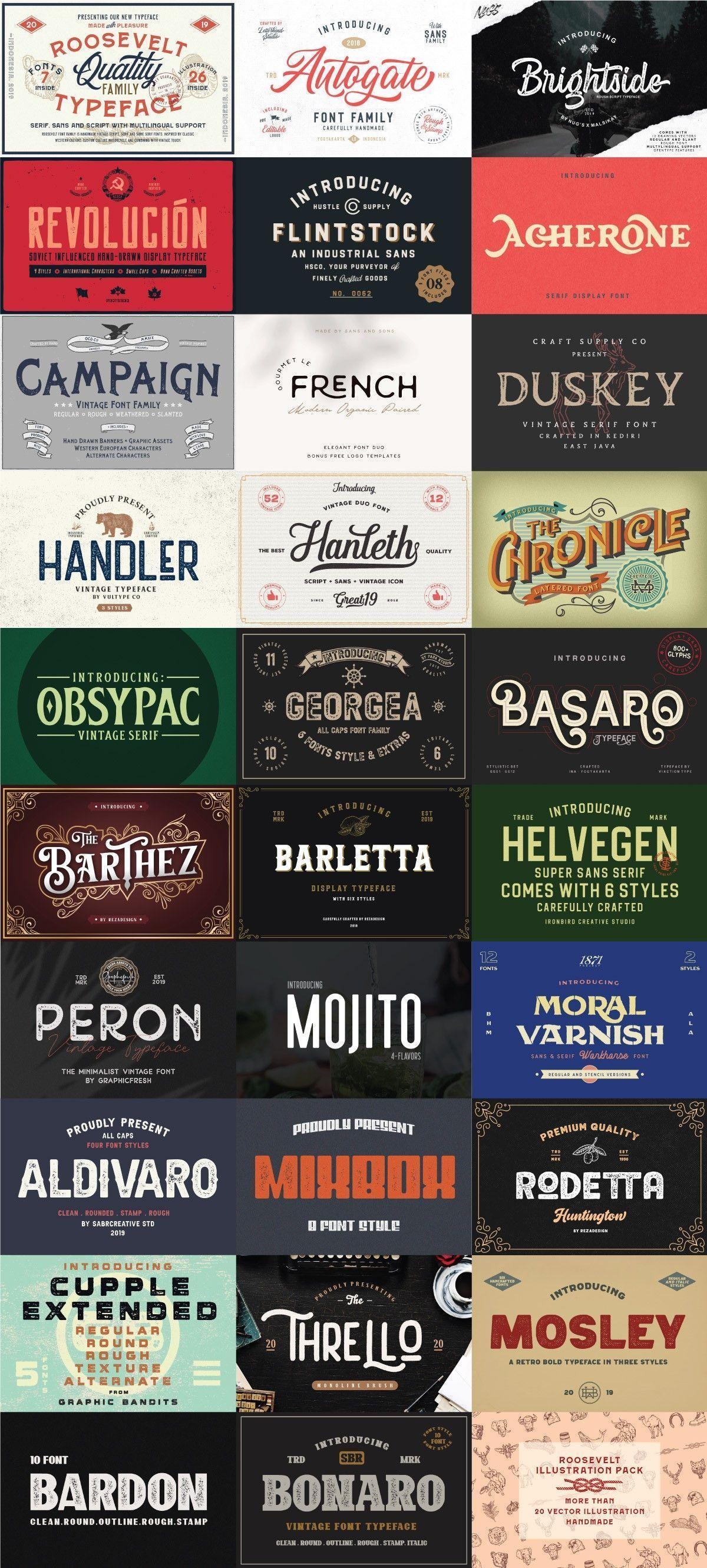 The Ultimate Vintage Font Collection Ad Vintage Fonts Vintage Typography Typeface Font