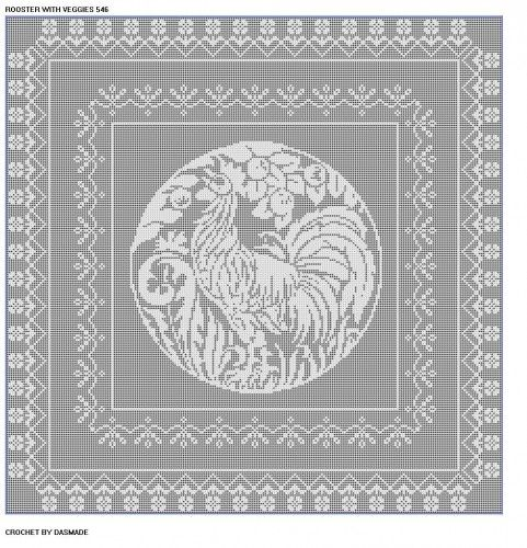 546 Rooster With Veggies Filet Crochet Bedspread Tablecloth Pattern
