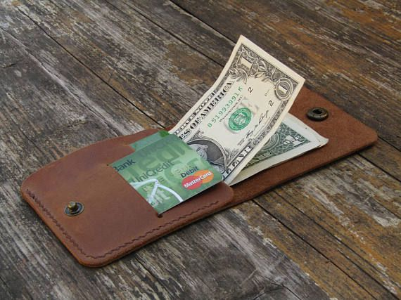 Minimalist Leather Wallet Size 10cm 9cm 0 5cm 2 Credit Card Pockets