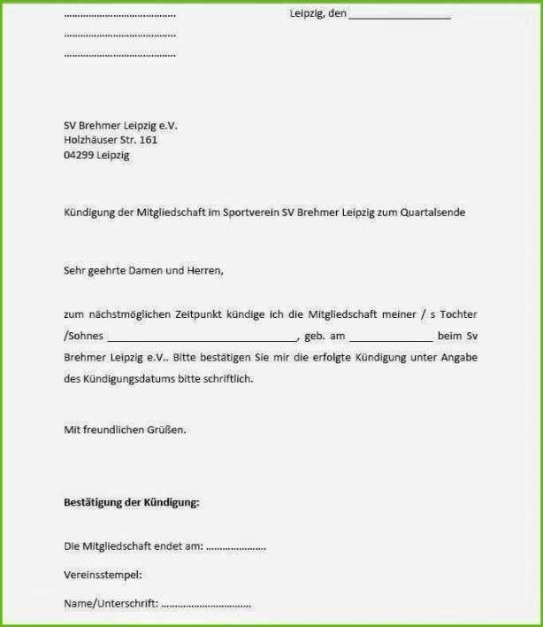 Kündigung Sportverein Vorlage in 2020   Sportverein