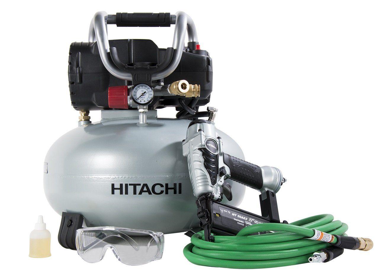 Hitachi Knt50ab Brad Nailer And Compressor Combo Kit 6 Gallon Pancake Air Tank 5 8 To 2 Brad Nail Best Portable Air Compressor Combo Kit Pancake Compressor