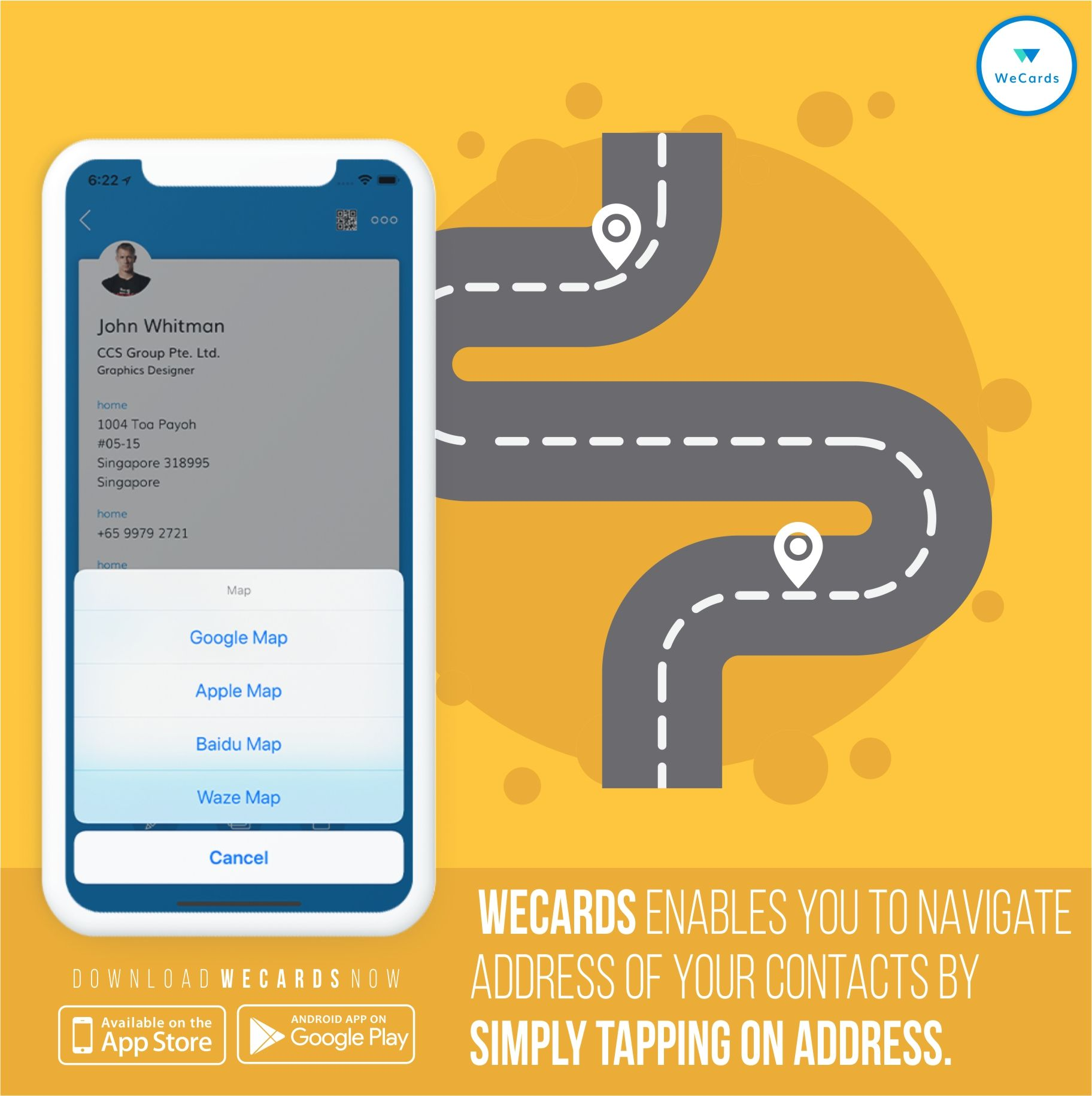 Wecards Enables You To Navigate Address Of Your Contacts By Simply Tapping On Address Don T Wait Just C Business Card App Digital Business Card Virtual Card