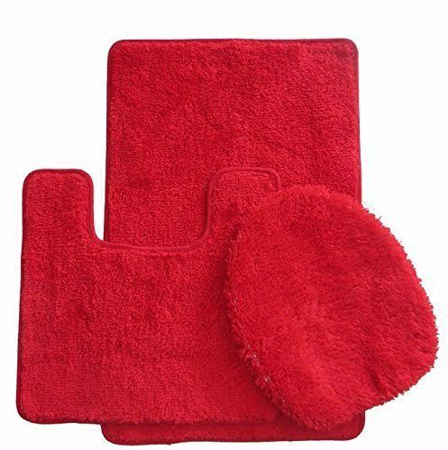 Royal Plush Collection 3piece Bathroom Rug Set Bath Mat Contour And Toilet Cover Standard Round Size
