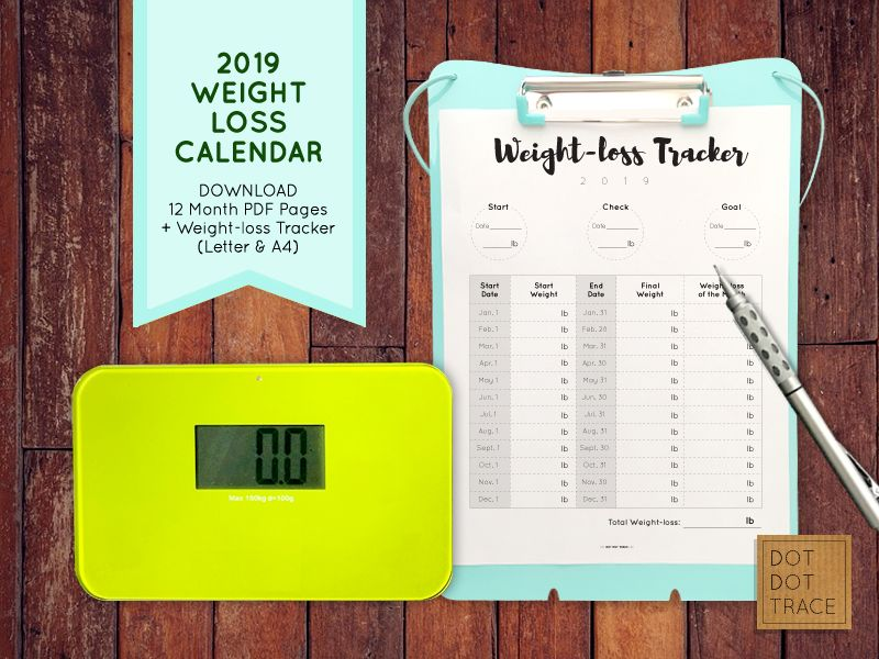 2019 Weight Loss Calendar 2018 and 2019 Weight Loss Tracker Monthly