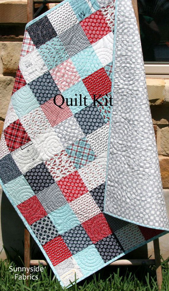 Quilt Kit, Feed Company Sweetwater, Moda Fabrics, Red Blue Navy ... : baby patchwork quilt kits - Adamdwight.com