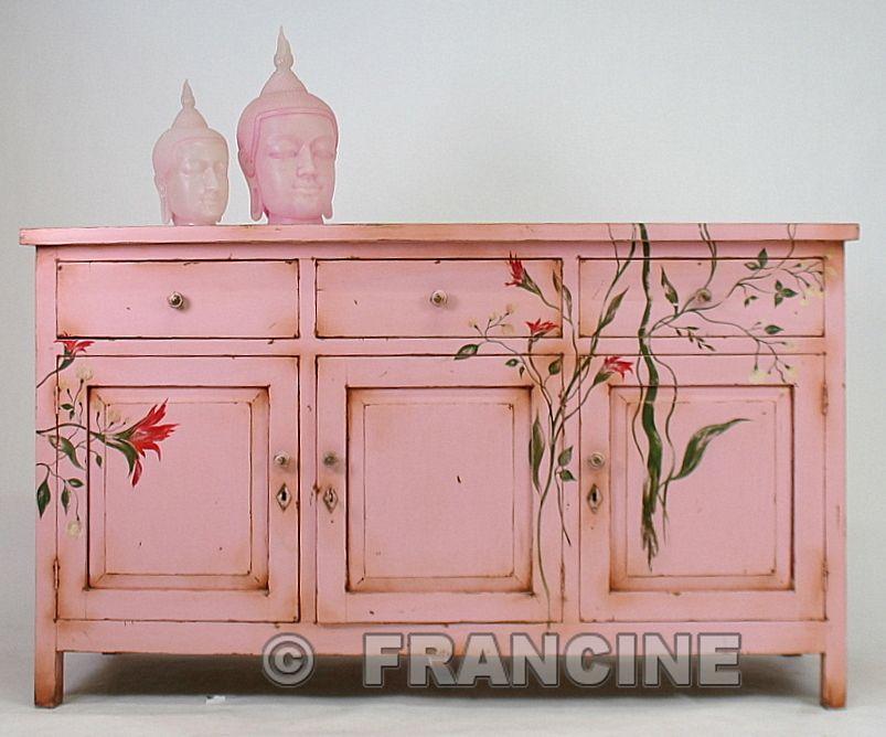 beschilderd roze dressoir live in pink places i 39 d like to go pinterest m bel alte m bel. Black Bedroom Furniture Sets. Home Design Ideas