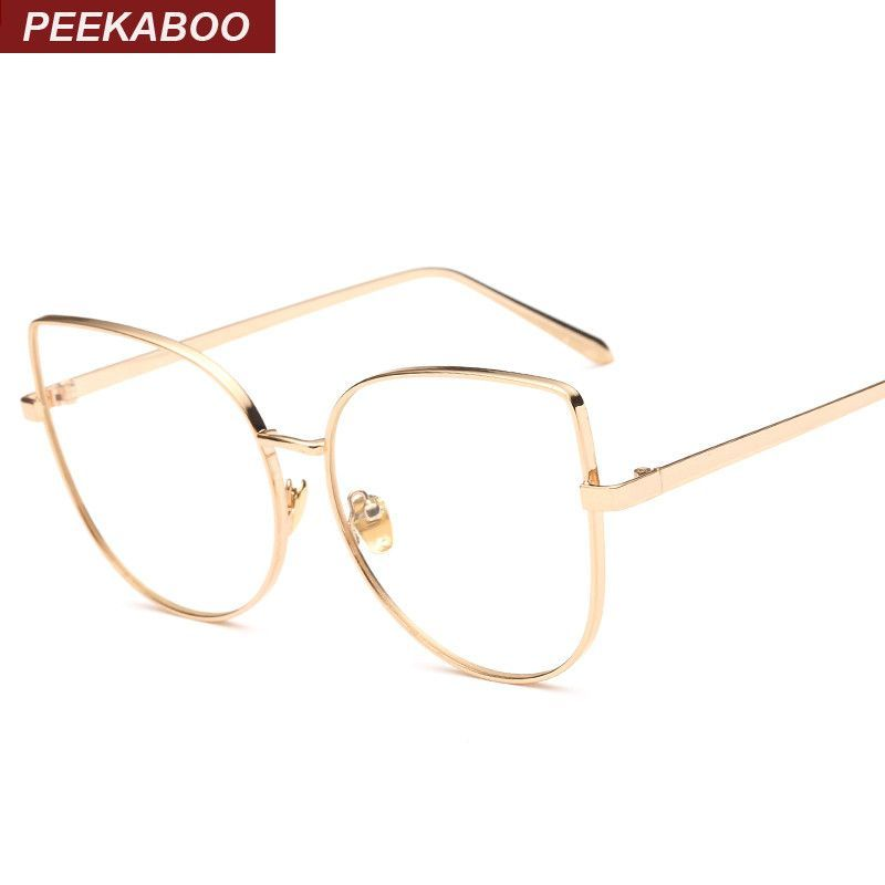 aa0169555f2 Peekaboo Wholesale new sexy big cat eye glasses frames for women brand  black silver gold clear fashion glasses cat eye metal