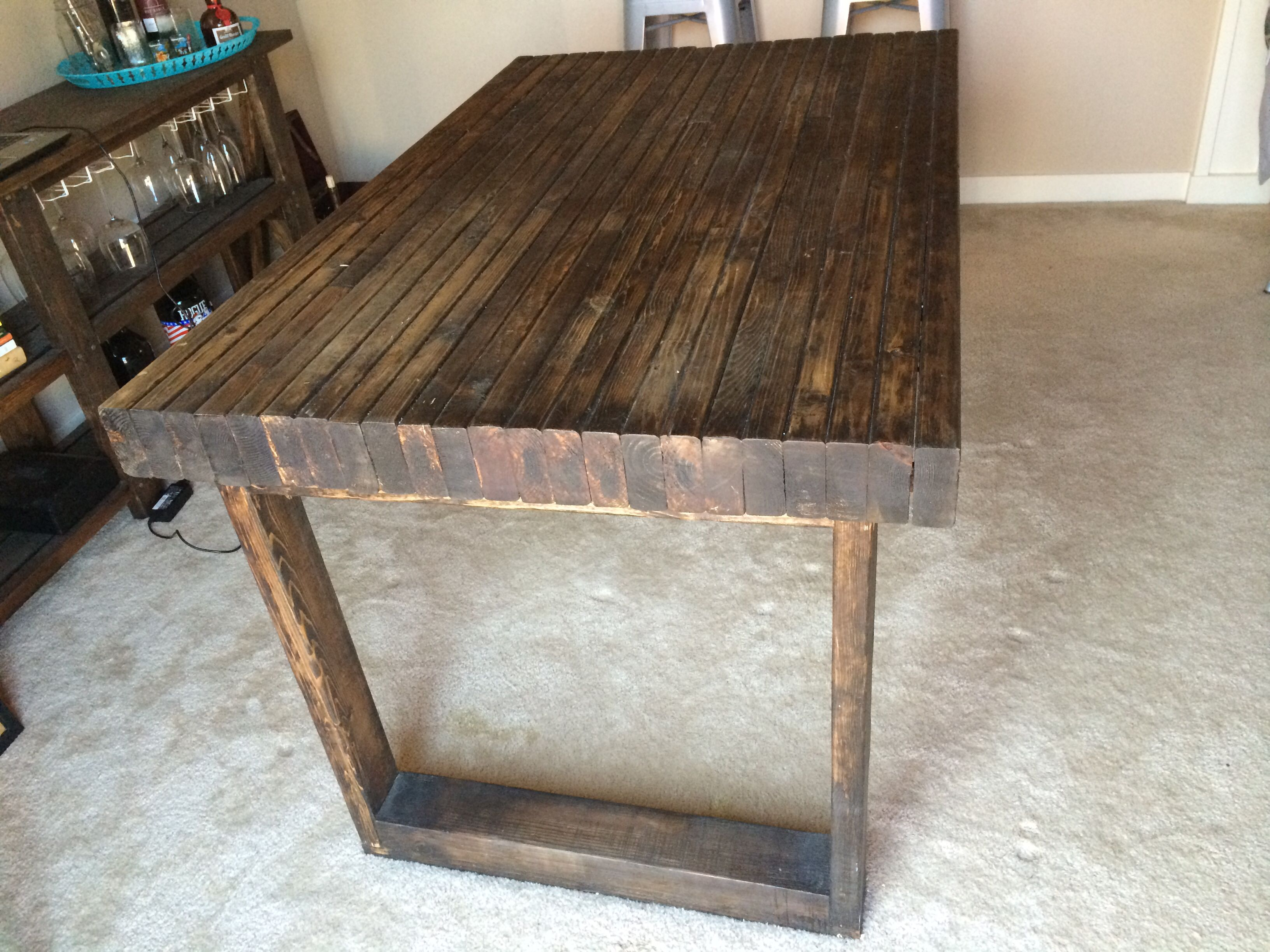 Repurposed 2x4 kitchen table for the wife and i tables for Dining room table 2x4