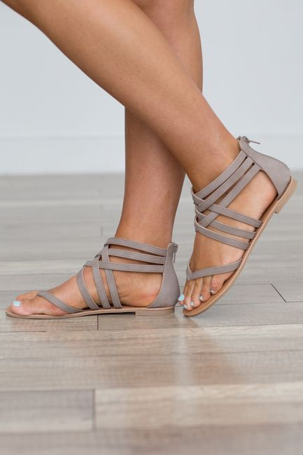 fea914d67 Strappy Front Flat Sandals - Taupe. Strapy front flat sandals with a zipper  back closure. Man made material.