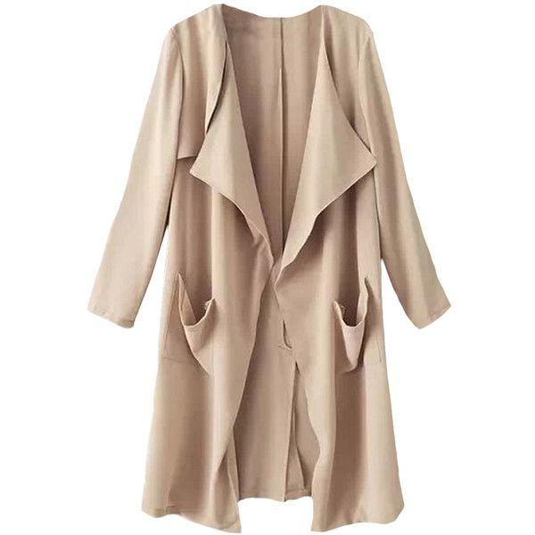 Blackfive Solid Tone Lapel Open Front Long Coat (1.080 UYU) ❤ liked on Polyvore featuring outerwear, coats, jackets, blackfive, open front coat, beige coat, lapel coat, long coat and longline coat