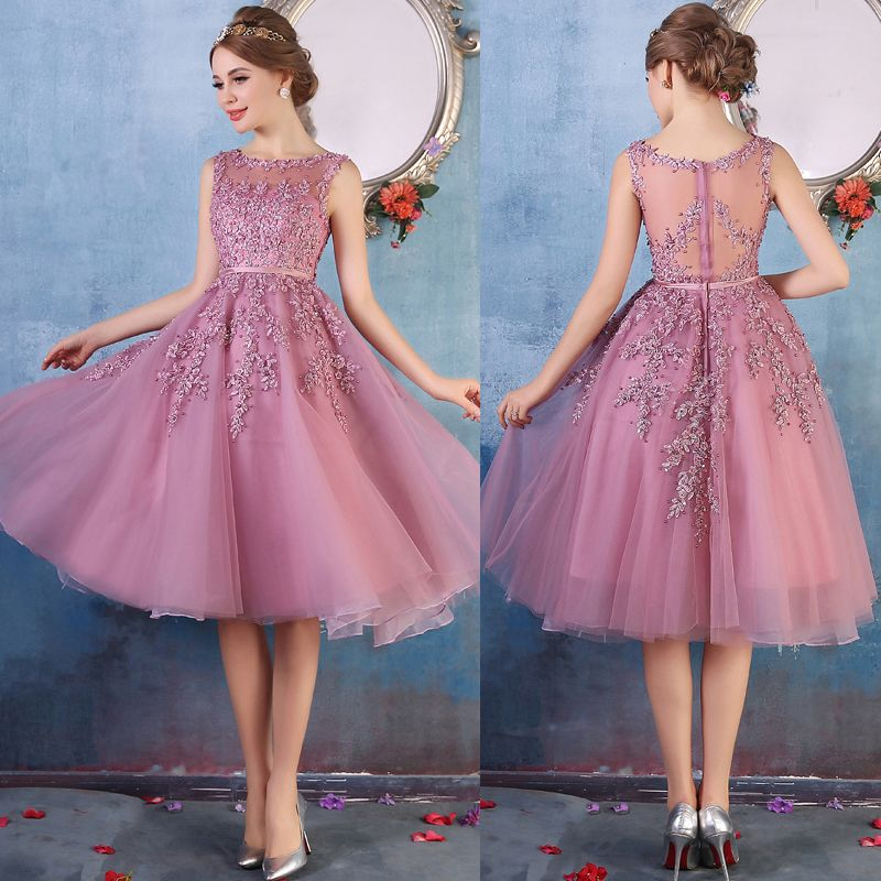 Newest Short Purple Prom Dress, Illusion Homecoming Dress | Vestidos ...