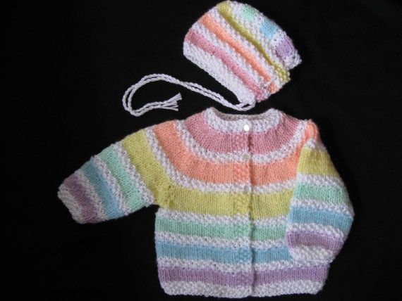 ba0fb84073a8 Handknit Pastel Rainbow Cardigan and Hat for Baby
