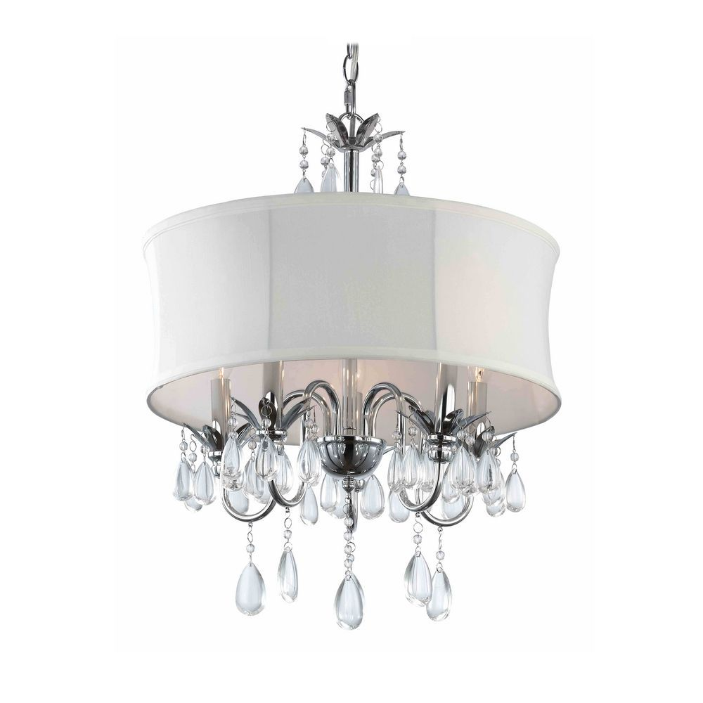 Only 100 00 Ashford Classics White Drum Shade Crystal Chandelier Pendant 2234 Wh