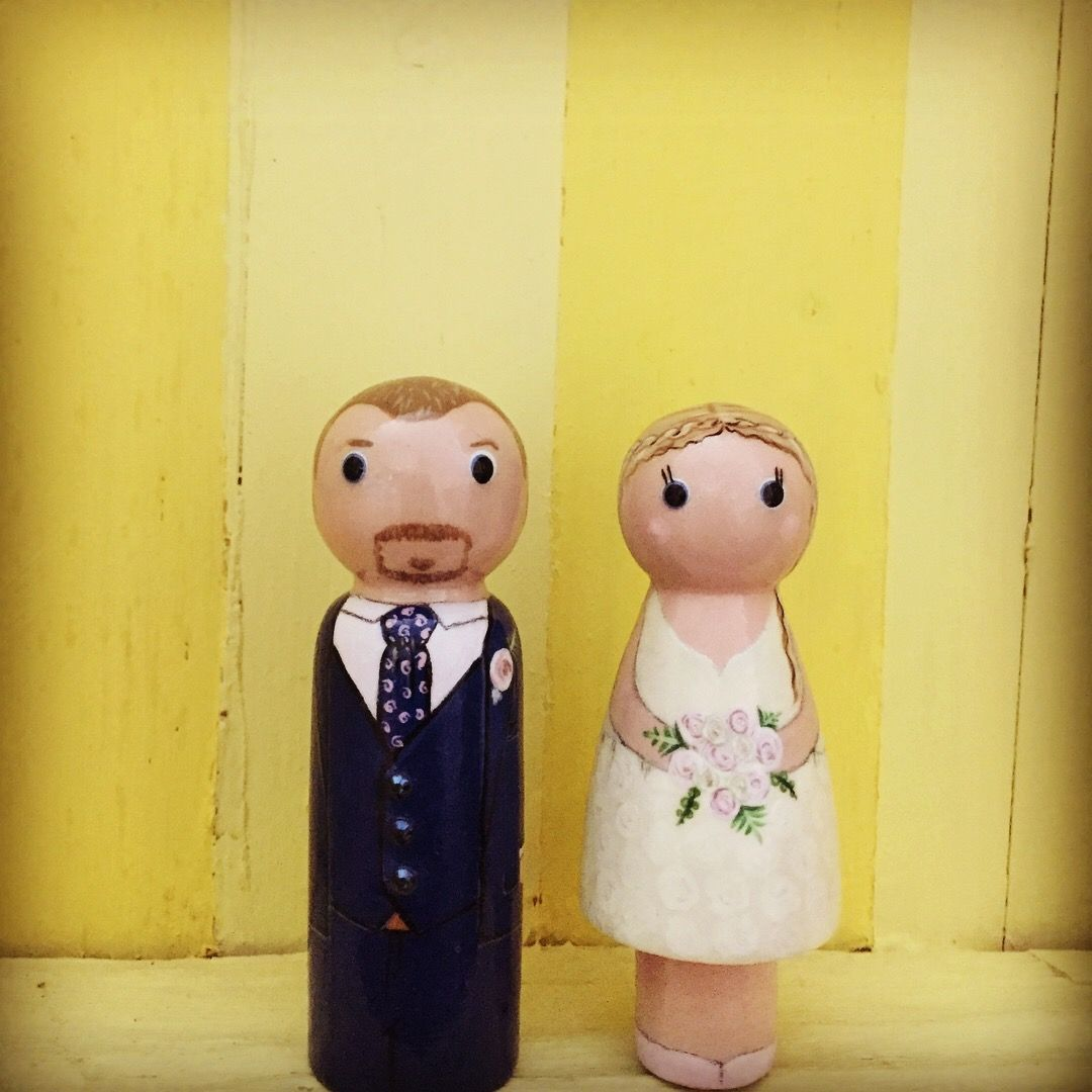 Summer wedding. Bride and groom wooden peg doll cake topper keepsake ...