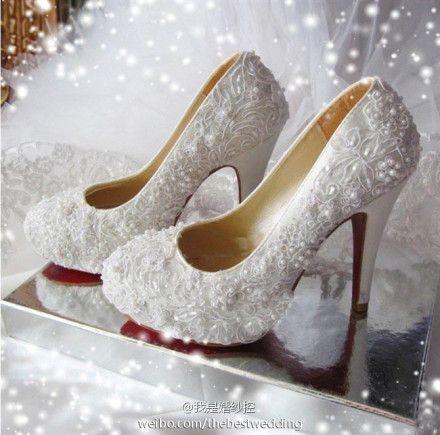High Quality Bride Wedding White Lace High Heels Korean Stylish