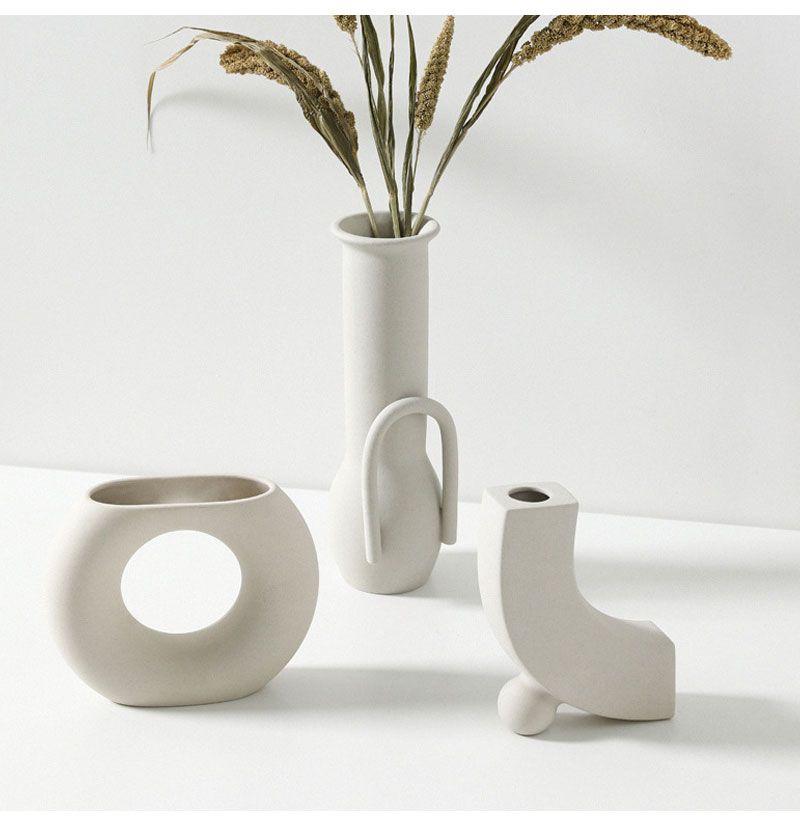 Nordic Ins Ceramic Vase Home Ornaments White Vegetarian Creative Ceramic Flower Pot Vases Home Decorations Craft In 2020 Ceramic Flower Pots Ceramic Flowers Gift Vase