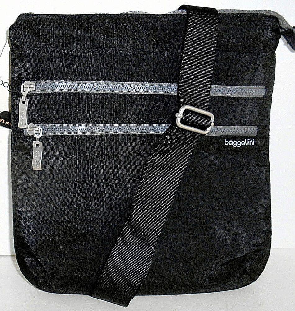 BAGGALLINI Comrade 3 Zip Crossbody Shoulder Bag NEW Black Top Zip Organizer   Baggallini  CrossBody