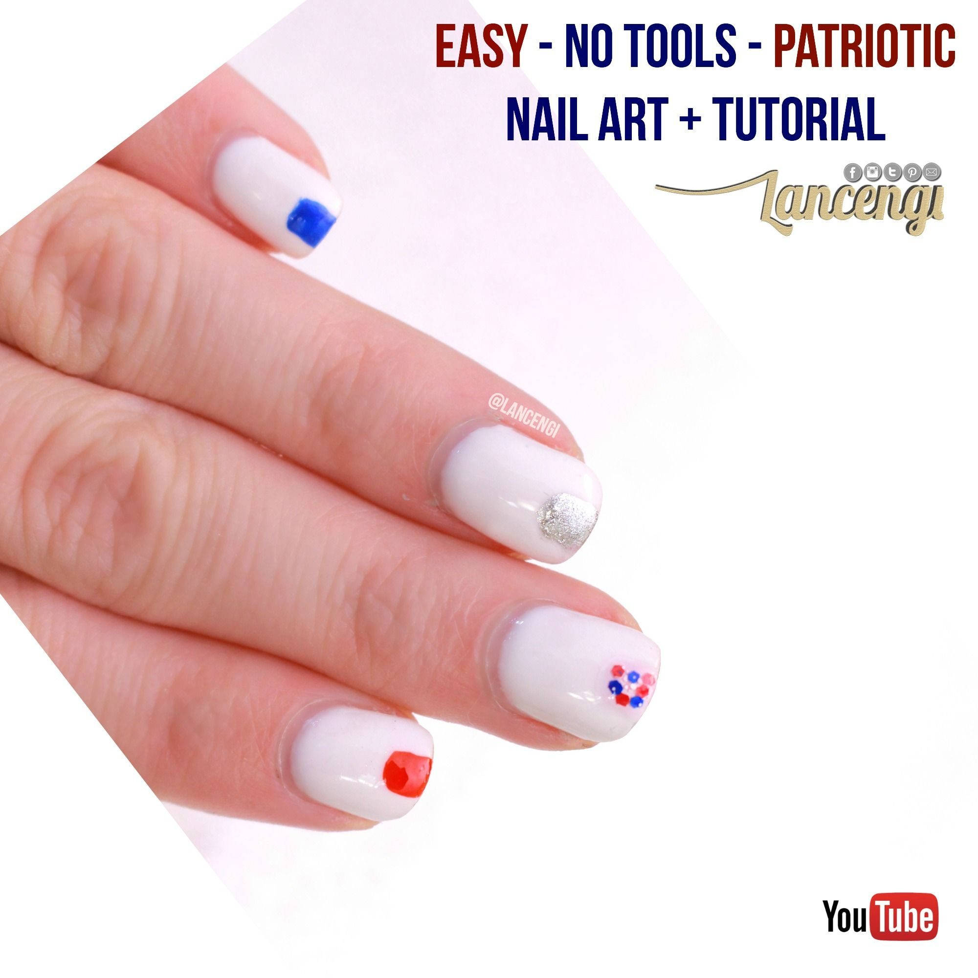 Easy Summer Nail Ideas: Fourth of July Red, White, Blue, and Silver ...