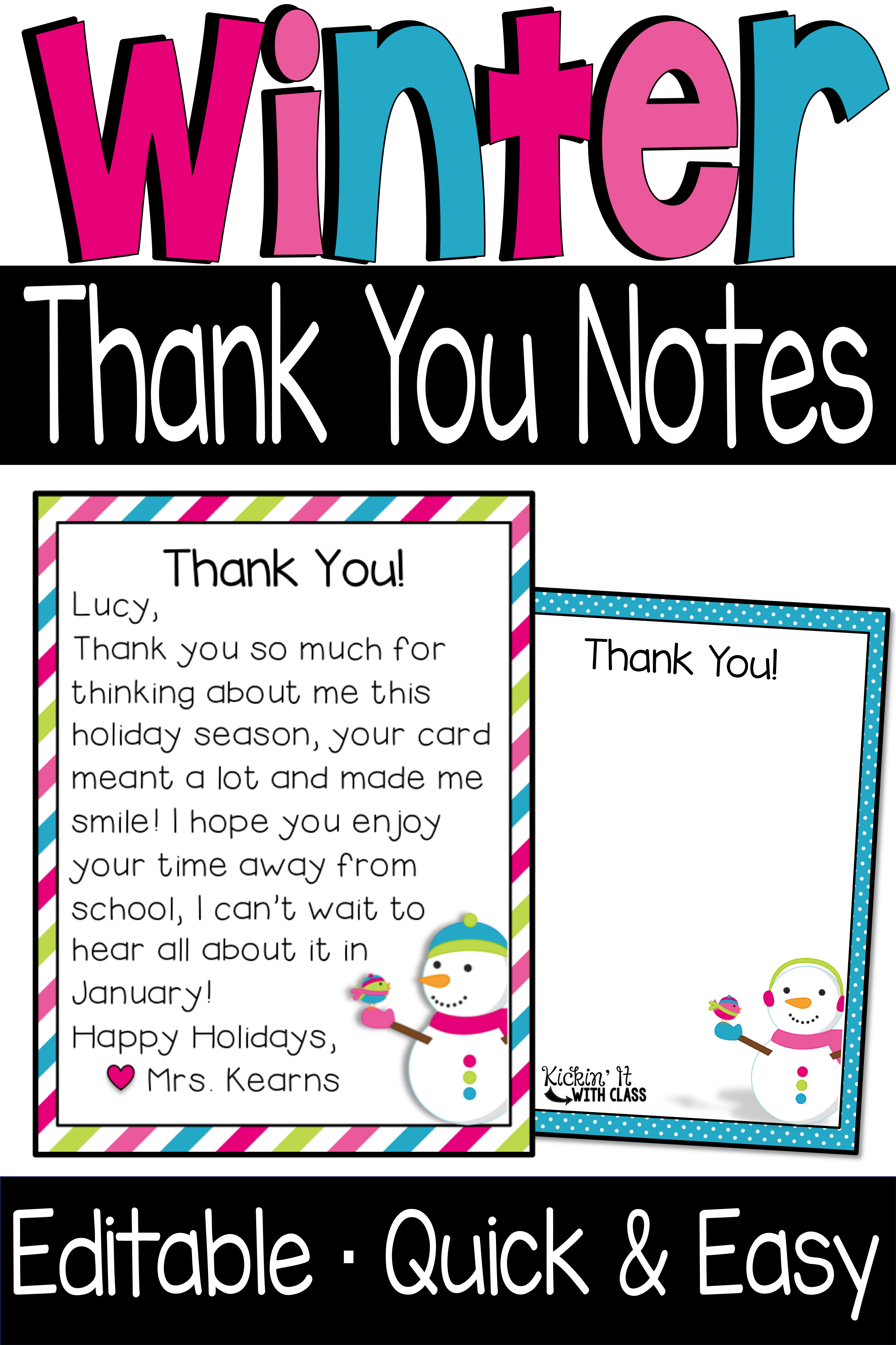 Winter Thank You Notes Heather Kearns Kickin It With