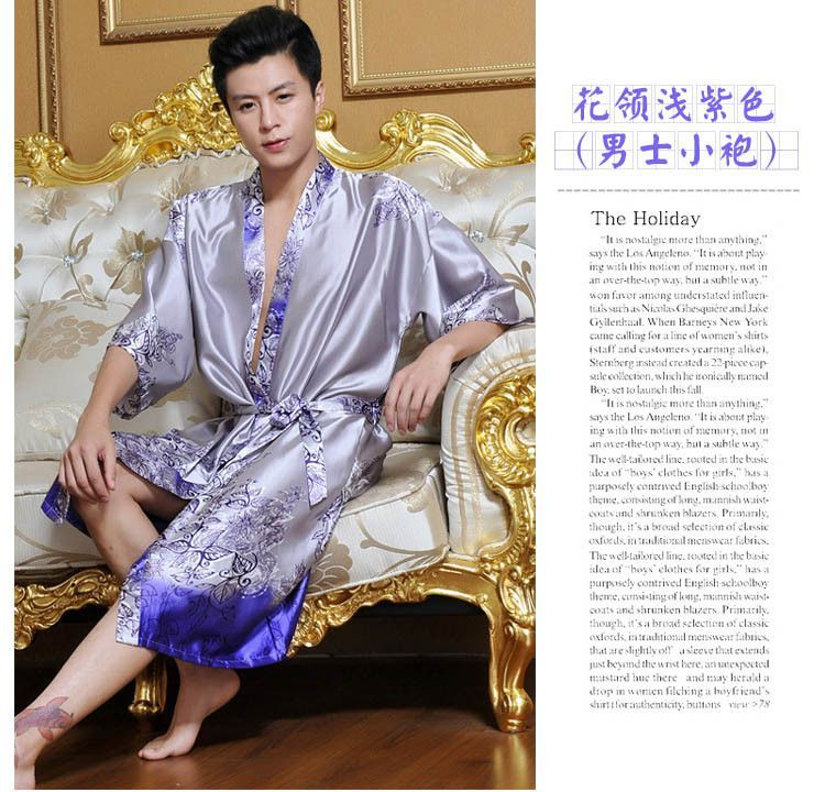 Faux silk Mens robe dressing gown for man sleepwear mens kimono male ...