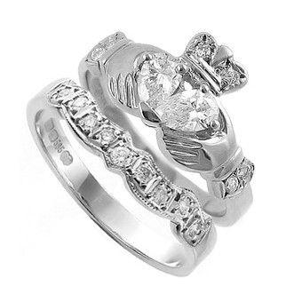 A Diamond Claddagh Ring with Wedding Ring -