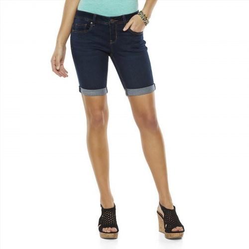 15.95$  Buy here - http://viykt.justgood.pw/vig/item.php?t=v4col1h45656 - NWT Juniors Girls SO Dark Stretch Denim Rolled Cuff Bermuda Jean Shorts Size 1 15.95$