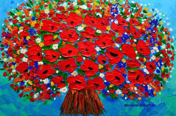 flowers painting original on canvas 24x36 artist от malorcka