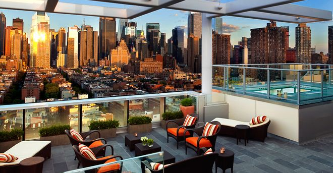 Kimpton Hotel New York City, New York Boutique City Drink Hot Tub/Jacuzzi  Lounge Modern Rooftop Sky Leisure Plaza Building Lobby Restaurant Interior  Design ...