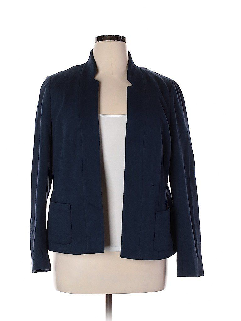 Boden Jacket: Blue Solid Jackets & Outerwear Size 14 in