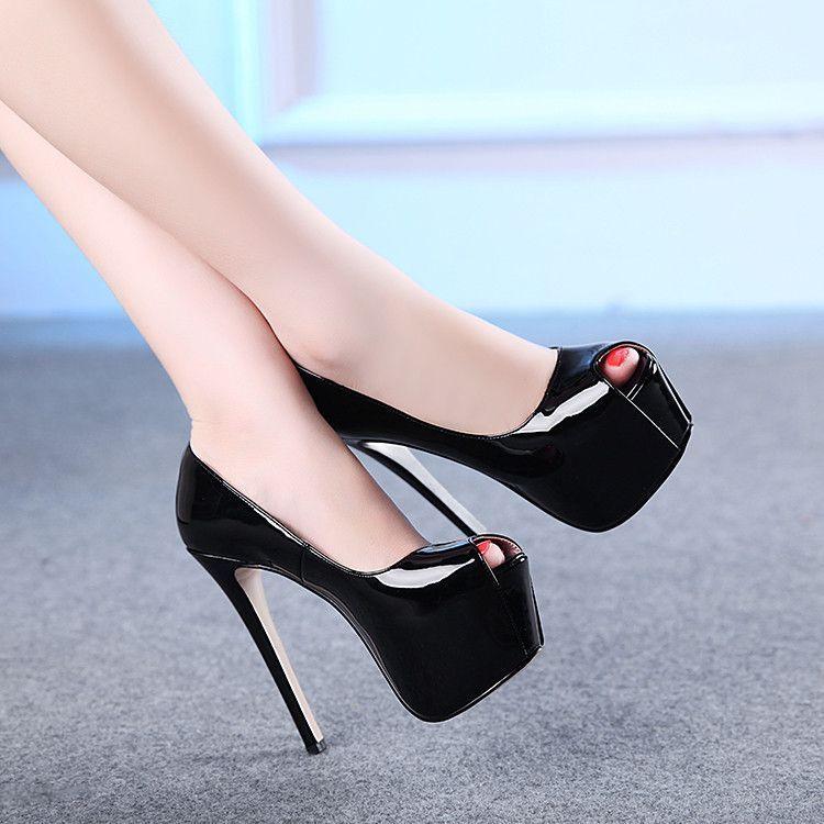 90176840a1ec Brand Wedding Bridal Shoes Woman Peep Toe High Heels Black Women Shoes Sexy  Patent Leather Platform Designer Shoes Pumps FS-0097