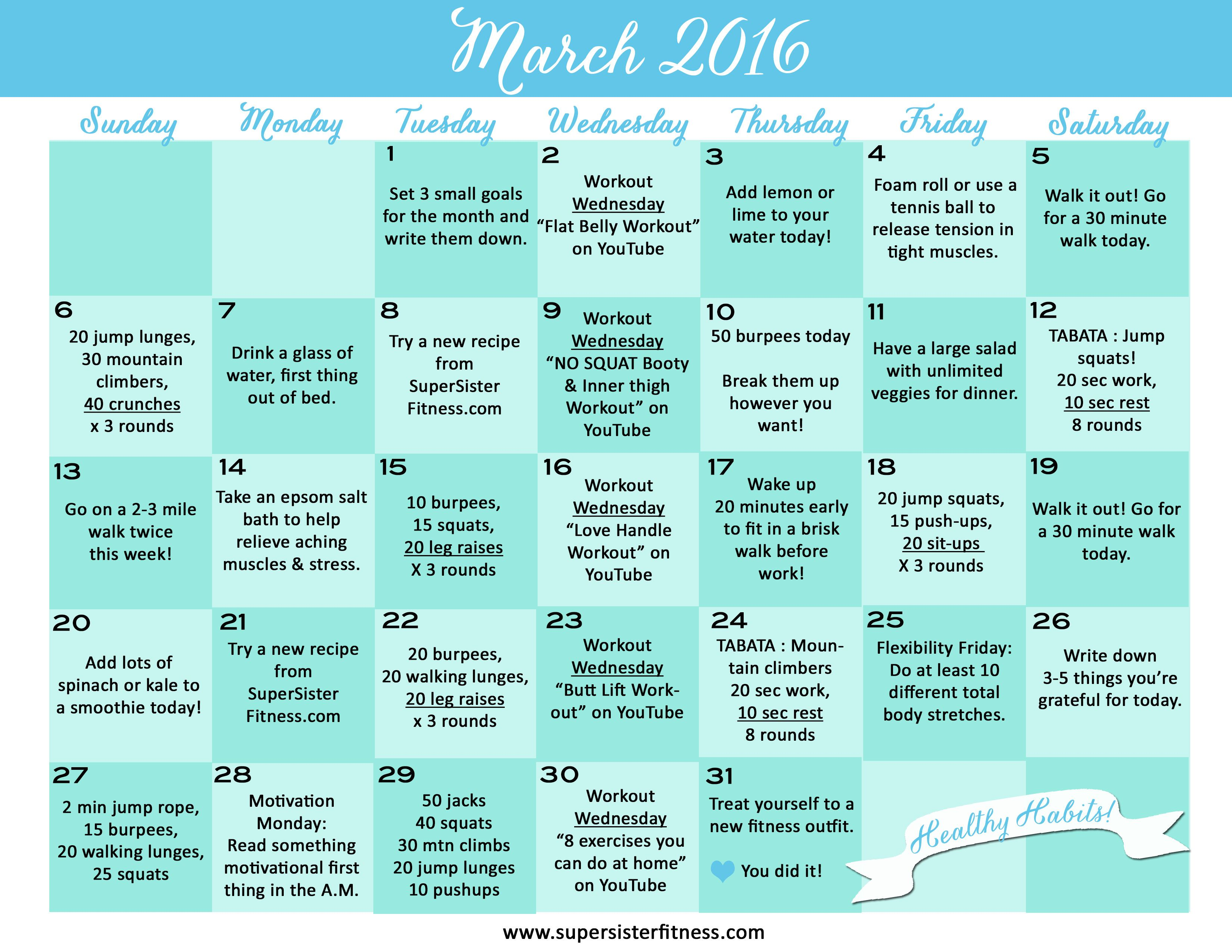 Here it is! March's free fitness challenge calendar! Print out ...
