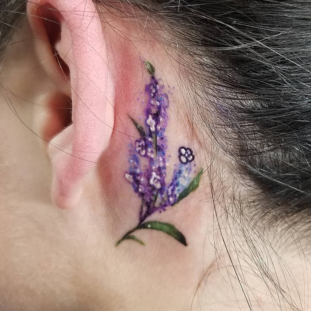 Little Lilacs Behind The Ear On Jmparkins4387 Happy Bday Now Taking Appointments Dm Me Or Contact Booking Certifiedcustoms Net Lilac Tattoo Tattoos Lilac