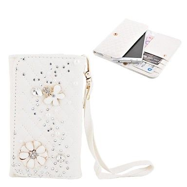 Elonbo Diamond Grain Shining Flower Style Læder Wallet Full Body Case for Iphone4/5/5C – DKK kr. 101