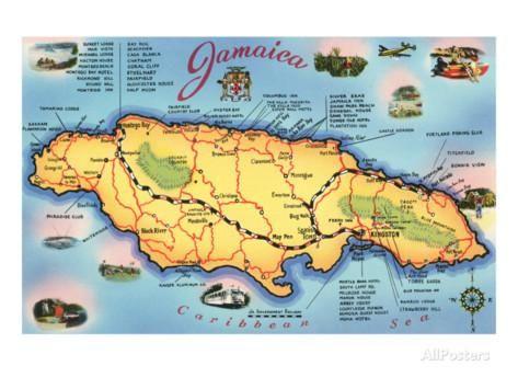 Map of Jamaica Art | Jamaica map | Jamaica map, Jamaica cruise ...
