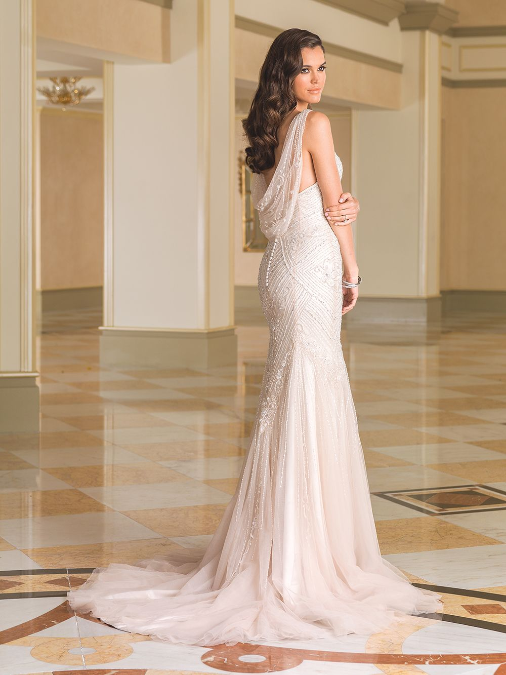 Fit and flare dress wedding  Sophistication is embodied by this tulle Vneck fit and flare gown