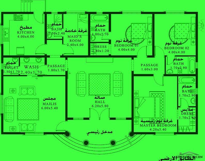 مخطط منزل اندلس 3 غرف نوم 230 متر مربع طابق واحد Arab Arch Periodic Table Floor Plans Diagram