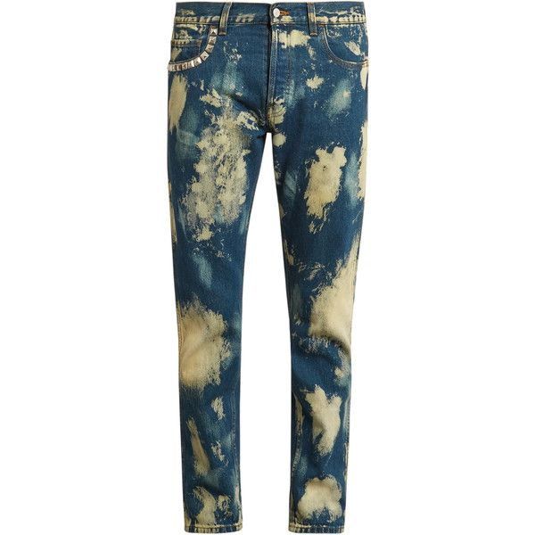 Gucci Bleached slim-fit jeans (10,795 MXN) ❤ liked on Polyvore featuring men's fashion, men's clothing, men's jeans, blue, mens slim jeans, gucci mens jeans, mens bleached jeans, mens straight jeans and mens slim cut jeans