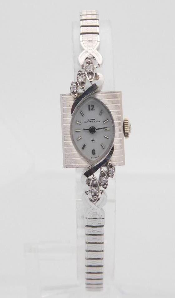 14k white gold wittnauer diamond mechanical handwind watch with 14k white gold hamilton mechanical handwind watch speidel expandable band 29042 sciox Choice Image