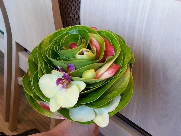 An unusual composite wedding bouquet made from Anthuriums & Phalaenopsis Orchids - Loved by Jemini Flowers, Oxford (www.jemini.co.uk)