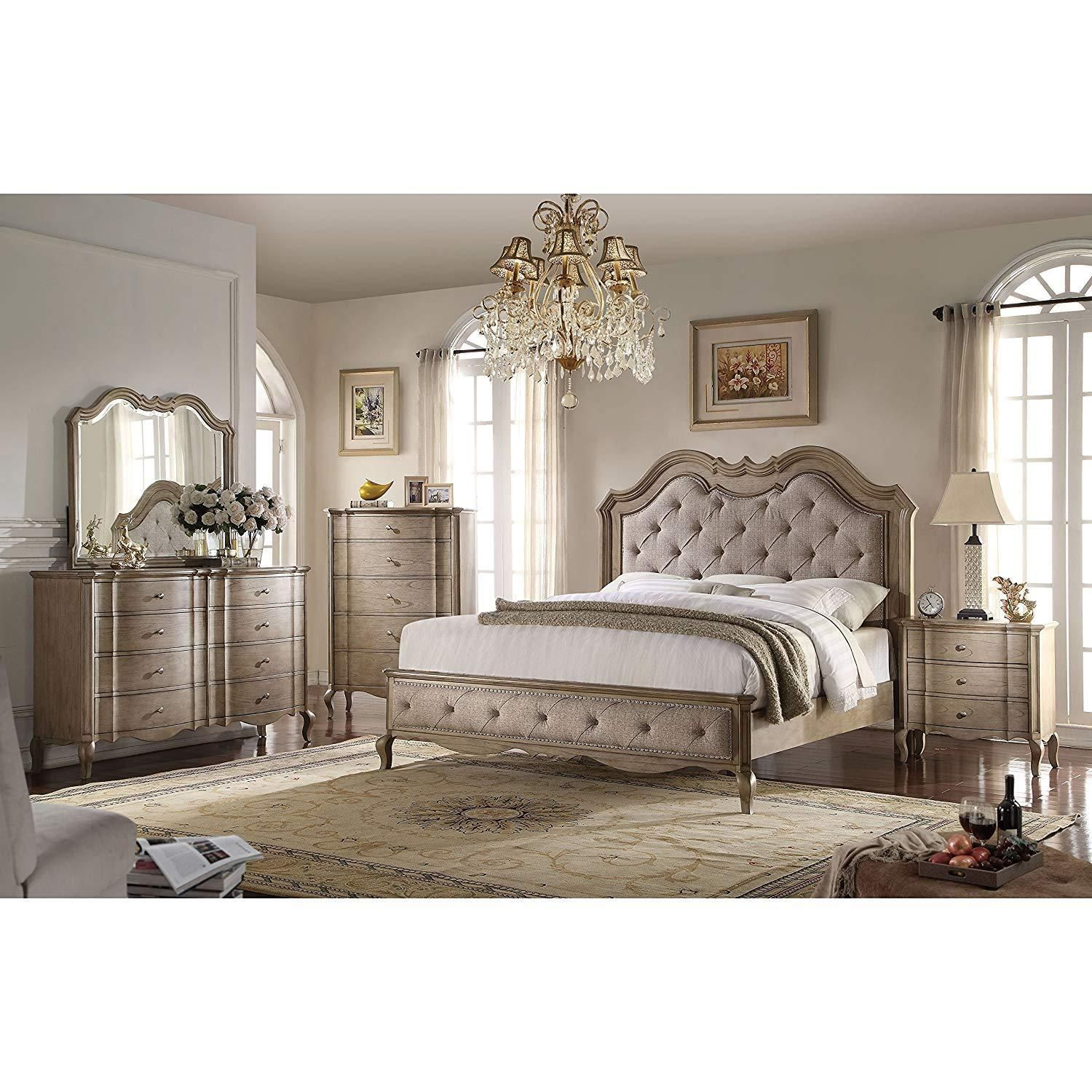 Acme chelmsford beige fabric piece bedroom set products in