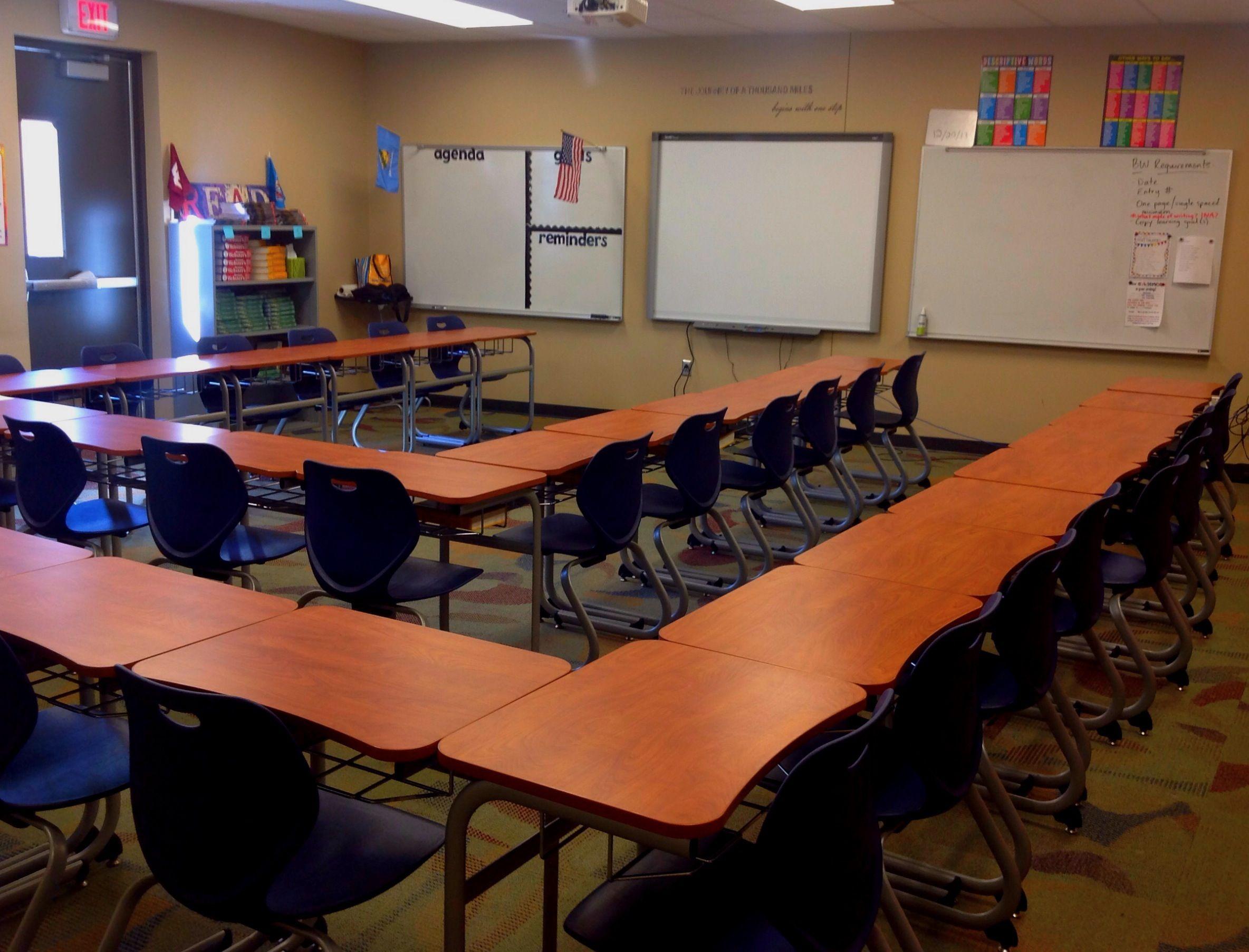 Desk Arrangement In Middle School Language Arts Classroom