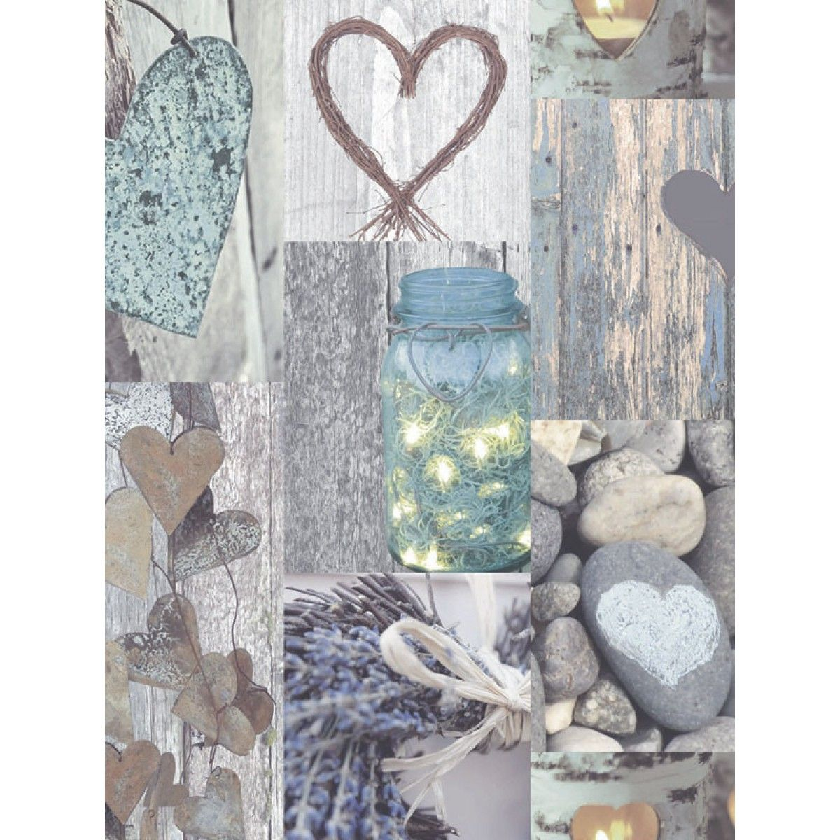 This Rustic Heart Wallpaper In Natural Tones Features A Collage Style Design With Pretty