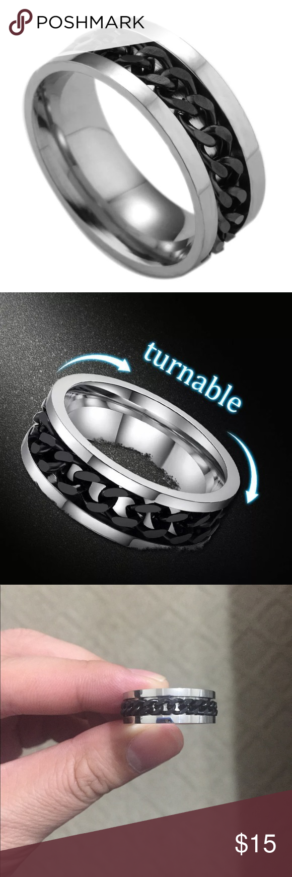 Black Rotatable Chain Stainless Steel Ring Steel Ring Stainless Steel Rings Misguided Fashion