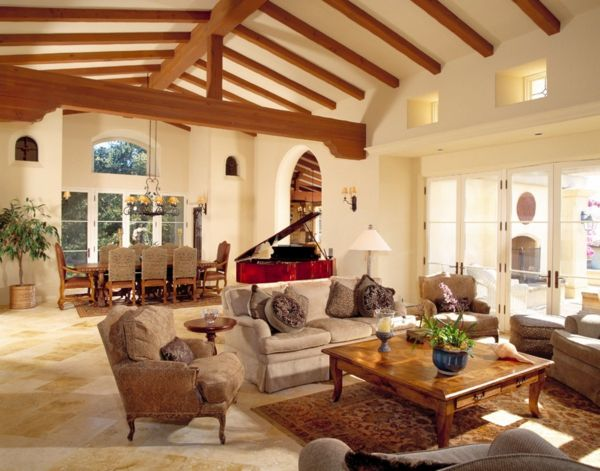 Mediterran Wohzimmer Naturstein Wand Balken Decke Rustikal  Gepolsterte Möbel Couch | Sweet Home | Pinterest | Couch, Natursteine Und  Mediterran